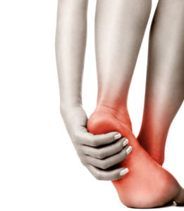 Heel pain in women on white. Pain concept